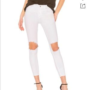 Free People White Jeans with Holes
